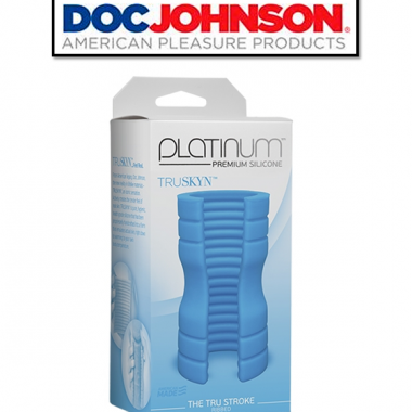 THE TRU STROKE – RIBBED BLUE – PLATINUM PREMIUM SILICONE